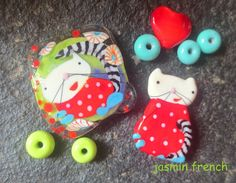 jasmin french ' whats up kitties... ' lampwork by jasminfrench