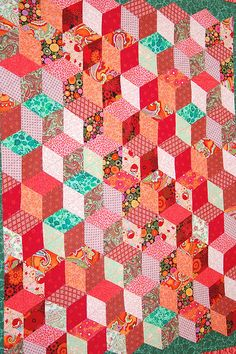 first quilt-tumbling blocks by drury girl, via Flickr