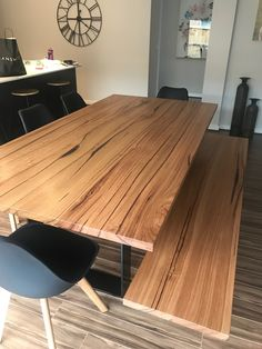 Messmate timber dining table with matching bench seat