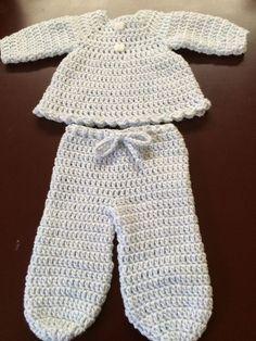 2 pc-Handmade Crochet L/S Dress/Top & footed pants - NB to 6 months - Baby Denim #Handmade #DressyEveryday