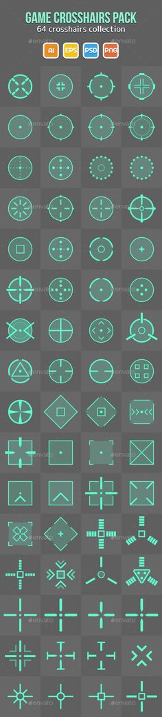 64 Game Crosshairs Pack — Photoshop PSD #sprite #gun • Download here → https://graphicriver.net/item/64-game-crosshairs-pack/9656534?ref=pxcr