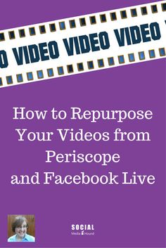 "How often have you said to yourself, ""I wish social media didn't take so much time?""   One way to help free up some time with your social media posts is to repurpose your content! Here are some ways that you can repurpose live videos from Facebook Live and Persicope."