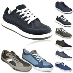 MENS GYM CASUAL FASHION LACE UP TRAINERS GENTS PLIMSOLLS SKATEBOARD SHOES SIZE