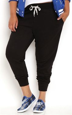 Plus Size Jogger Pant with Striped Drawstring