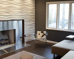 Stainless Steel Fireplace And Modulararts Wall, Modern Media Room