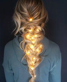 pull through mermaid braids   french braid   christmas lighting   winter   funny   cute   creative   long hairstyle   blonde
