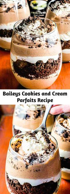 Parfait Desserts, Parfait Recipes, Just Desserts, Delicious Desserts, Dessert Recipes, Yummy Food, Cookies And Cream Parfait Recipe, Party Food And Drinks, Chocolate Toffee