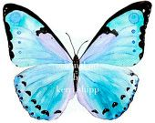 Petit Papillon   butterfly in aqua and purple