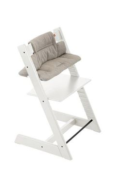 Stokke Tripp Trapp White chair with Cushion Hazy Tweed.