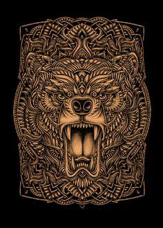 Oleg Gert Bear Illustration, Graphic Design Illustration, Angry Bear, Doodle Inspiration, Design Inspiration, Bear Drawing, Grid Design, Bear Art, Fantasy Artwork