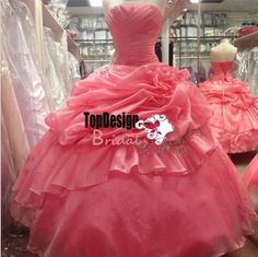 972a2805528 Wholesale Watermelon beading applique organza ruched bodice puffy sweet 15 dresses  quinceanera formal ball gowns