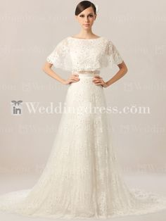 Beach Informal Wedding Dress with Batwing Top BC154