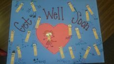 Get well card from our kinder class. Made with band-aids and googley eyes.