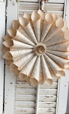 Book Page Wreath / French Book Wreath / Paper Cone Wreath / - Paper Book Wreath / French Paper Cone Wreath / by - Old Book Crafts, Book Page Crafts, Diy Paper, Paper Crafts, Tulle Crafts, Fabric Crafts, Christmas Crafts, Christmas Decorations, Hanging Paper Decorations