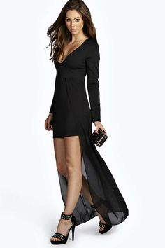 Black long sleeve, v neck bodycon dress, with sheer skirt covering.