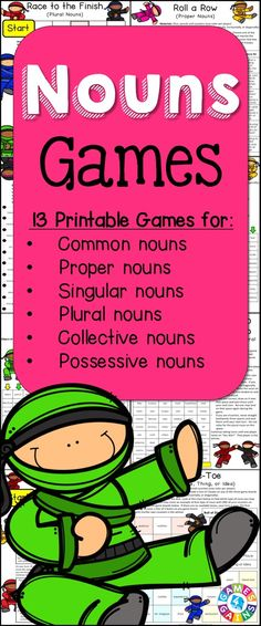 Nouns Games contains 13 fun and engaging printable board games to help students to practice common nouns, proper nouns, singular nouns, plural nouns, collective nouns, possessive nouns, concrete nouns, abstract nouns, and more!