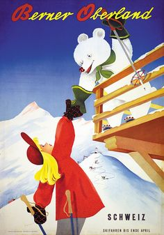 Poster by Paul Gusset / Berner Oberland / 1945