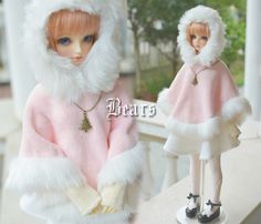 BJD doll female clothes pink cloak set sd10 - 1/3 1/4