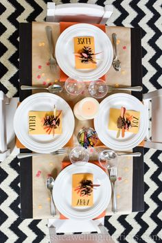Set a super-fun kids table for Thanksgiving with these fun and easy ideas! The decorations are simple and colorful and there's butcher paper and crayons for a pre-dinner activity. Treatment Projects Care Design home decor Hosting Thanksgiving, Thanksgiving Table Settings, Thanksgiving Decorations, Thanksgiving Celebration, Pinecone Turkey, Paper Table, Everyday Dishes, Butcher Paper, Cool Tables