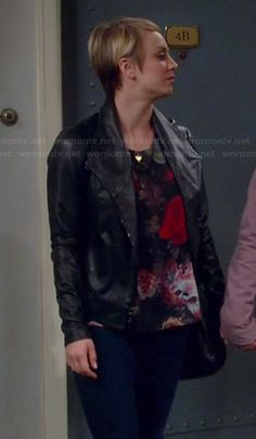 Penny's floral top and black leather jacket on The Big Bang Theory.  Outfit Details: http://wornontv.net/37398/ #TheBigBangTheory 'Vicky' Twist Keyhole Back Top by Alice & Olivia / Jacket: Scuba Leather Jacket by Vince