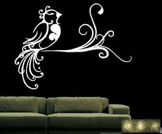 Vinyl Wall Decal Abstract Bird on a Swirly Branch 22089 sur Etsy, $37.48 CAD