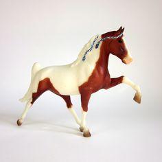 Vintage Prancing Breyer Horse / Matte White and Chestnut. $18.00, via Etsy.