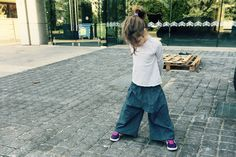 Denim culottes for girls, wide denim pants trousers for kids, jeans for kids - egst by ElliandPaul on Etsy