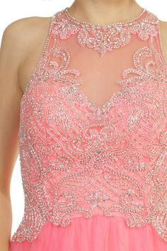 Beaded Lace Design Open Back Ball Gown Prom Dress
