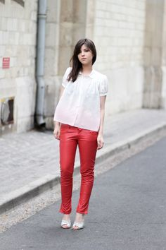 NEED red skinny leather pants! I had a pair in college and I was stupid and gave them away