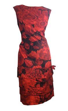 Artsy Red Floral Print Silk Taffeta Cocktail Dress circa 1960s - Dorothea's Closet Vintage