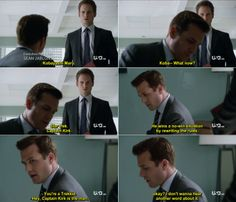Mike Ross: Koba-- What now? Suits Quotes Harvey, Suits Harvey, Harvey Specter Quotes, Suits Show, Suits Tv Shows, Kobayashi Maru, Suits Tv Series, Gina Torres, Suits Usa