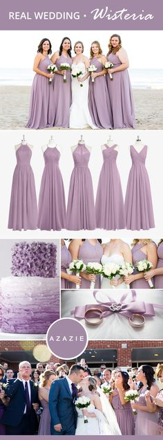 Mixing-and-matching your bridesmaids is easy! Azazie offers 50+ colors to choose from. We offer color swatches to make mixing & matching easier. Wedding tip: Try out our sample program before you purchase to make sure you are completely in love with a dress! Azazie has over 200 styles from delicate lace to bold satins. Shop our affordable bridesmaid dresses today!  Photos courtesy of daissytorresphotography.com