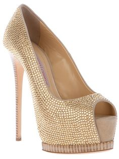 Beige suede pump from Gianmarco Lorenzi fetauring a peep toe, a concealed platform, a leather sole, a stiletto heel and all-over gold-tone studding.