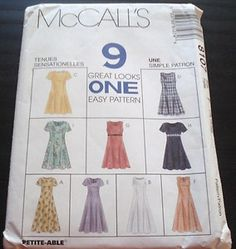 McCall's 8107 Size B 8-12 9 great looks one easy sewing dress pattern (uncut)