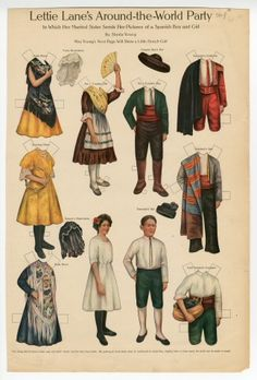 LETTIE LANE'S AROUND THE WORLD PARTY PAPER DOLLS:  Spanish Boy and Girl    (7 of 9)