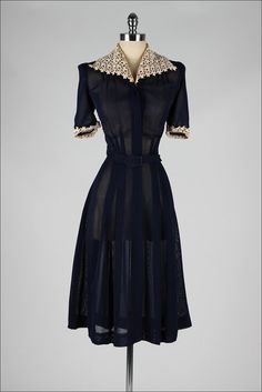 vintage 1940s dress . blue mesh with lace by millstreetvintage
