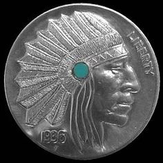 DAVE BOULAY HOBO NICKEL - INDIAN CHIEF WITH INLAY* - 1936 BUFFALO PROFILE Hobo Nickel, Buffalo, Classic Style, Coins, Carving, Profile, Indian, Artist, User Profile