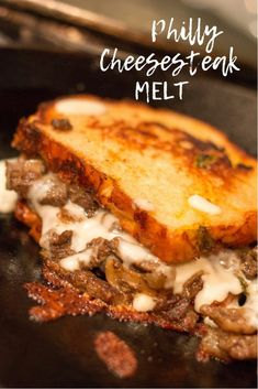 Philly Cheesesteak Melt is a really great change up to the easy dinner menu. This hot sandwich is like a grilled cheese and a patty melt and a philly cheesesteak had a baby! sandwiches Philly Cheesesteak Melt - All My Good Things Roast Beef Sandwich, Steak Sandwich Recipes, Thin Steak Recipes, Steak Sandwiches, Philly Cheese Steak Sandwich Recipe Easy, Grilled Cheese Burger, Grilled Cheeses, Vegan Sandwiches, Cheesesteak Recipe