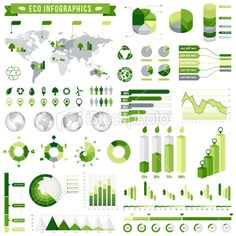 Ecological Infographics Set, graphic-design, illustration, vector design, ecology, infographics, graph, diagram, design element, world map