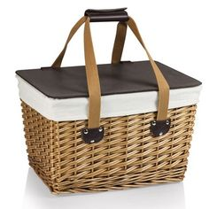 The Canasta Flat Lid Picnic Basket is as versatile, that the lid flat surface is sturdy enough to hold plates and drinks.