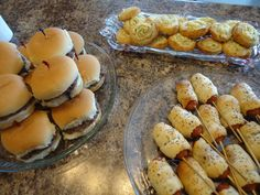 Fun finger foods! Appetizers for kids party... 4th of July Playdate... Slider Burgers, Jalapeno Popper Spirals and Vienna Hot Dogs wrapped in cresents with poppy seeds on a stick .. https://www.facebook.com/photo.php?fbid=10151698094939817=a.10151036397279817.450295.106597134816=3