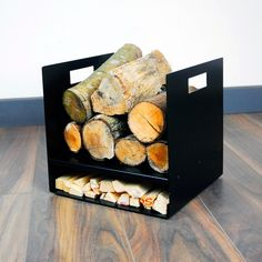 Modern Firewood Log Basket/Carrier for Woodstove Fireplace Wood Holder - Pastel Range Firewood Stand, Firewood Logs, Firewood Storage, Bench With Shoe Storage, Storage Baskets, Storage Rack, Firewood Carrier, Range Buche, Metal Storage Cabinets