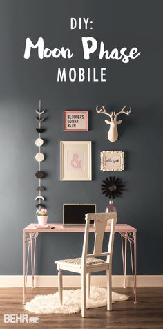 Add some dreamy wall art to your home office and revamp your desk with a gallery wall featuring this DIY Moon Phase Mobile. The cool gray shades paired with light pink accents are a perfect match. See how a fresh coat of gray paint can give you a new perspective and inspire your latest DIY projects. | Featured colors: Black Boudoir, Imperial Gray, Flint Gray, and Minimalistic