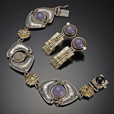 Sandra Freeman bracelet by Nora Larimer mixed metals and stones ~  x