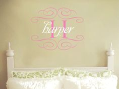 Wall Decals Nursery Baby Girl Name Monogram by AllOnTheWall, $25.00