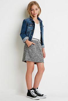Varsity-Striped Slub Knit Skirt (Kids)   Forever 21 girls - 2000142245