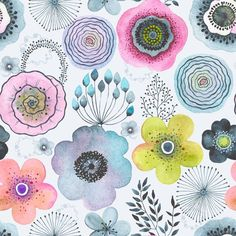 Floral Pattern Wallpaper, Colorful Wallpaper, Wallpaper Roll, Peel And Stick Wallpaper, Wallpaper Murals, Different Flowers, Textiles, Surface Pattern Design, Floral Wall