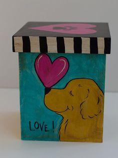 Golden retriever hand painted keepsake wooden box by JennysDogArt, $58.00