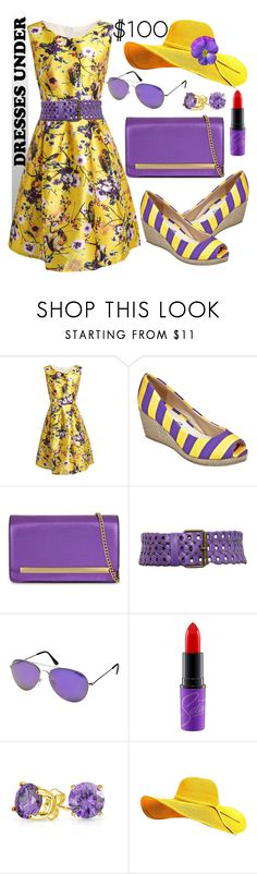 """Purple & Yellow"" by ela79 ❤ liked on Polyvore featuring Lillybee, ALDO, Motif 56, Steve Madden, MAC Cosmetics and Bling Jewelry"