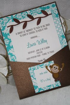 Turquoise and Chocolate Brown Jungle Chic Monkey Baby Shower Invitation